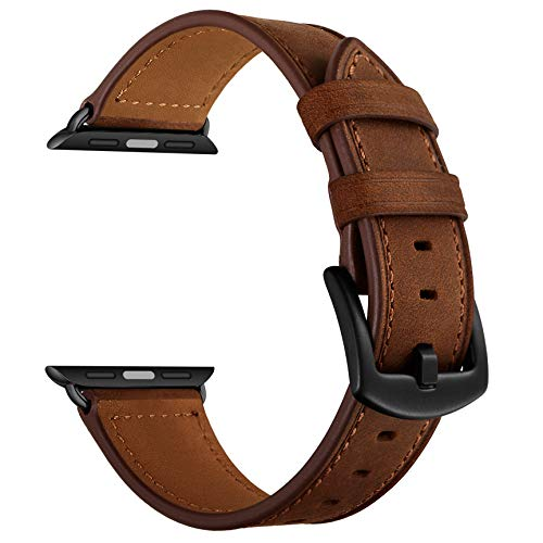 CINORS Leather Band Compatible with Apple Watch Vintage Classical Bands Dark Brown Replacement Strap for iWatch Series 5 4 3 2 1 Nike Space Black Grey 42mm 44mm Men Women, Brown
