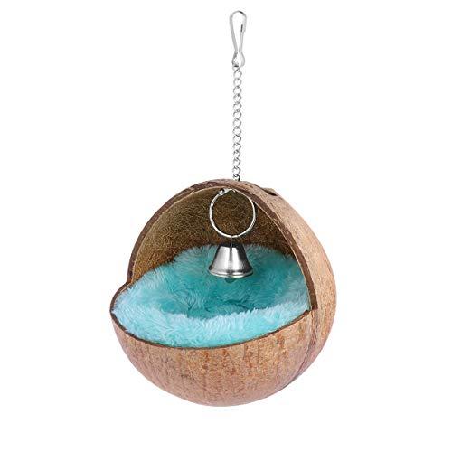 POPETPOP Kokosnussschalen-Vogelhaus-Hamster-Kokosnuss-Versteck, Kokosnest mit weicher Matte für einen Hamster, Ratte, Vogelspielzeug