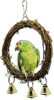 Natural Rattan Pet Bird Cage Perch Toy Parrot Toys Bird Hanging Toy Bird Hammock Swing for Parakeets with Bell Pet
