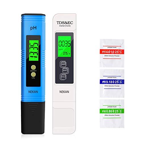 NEKAN Testeur pH Mètre,TDS&EC Mètre Température, 4 en 1 PH Testeur de qualité de l'eau avec Écran LCD Auto-Calibration Test pour Piscine, Aquarium
