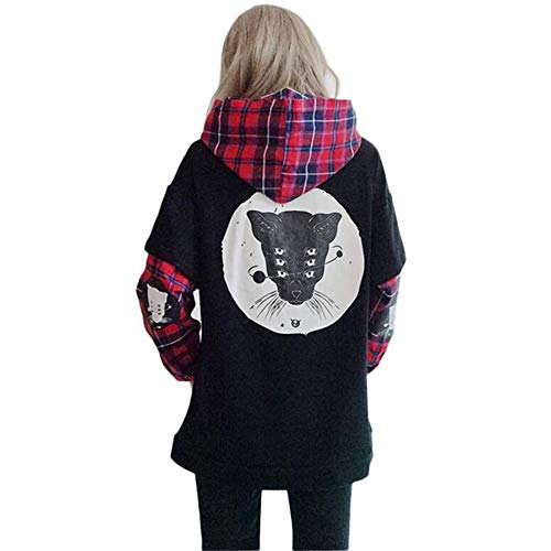 Black Sugar – Sudadera con capucha – Chaqueta de manga doble punk rock gótico negro bolsillo escocés lobo zorro para mujer niña Mi temporada