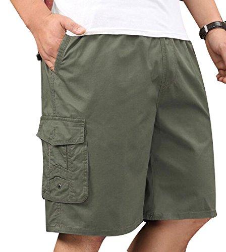 Men's Cotton Lightweight Twill Elastic Waist Performance Drawstring Baseline Cargo Shorts Army Green 40
