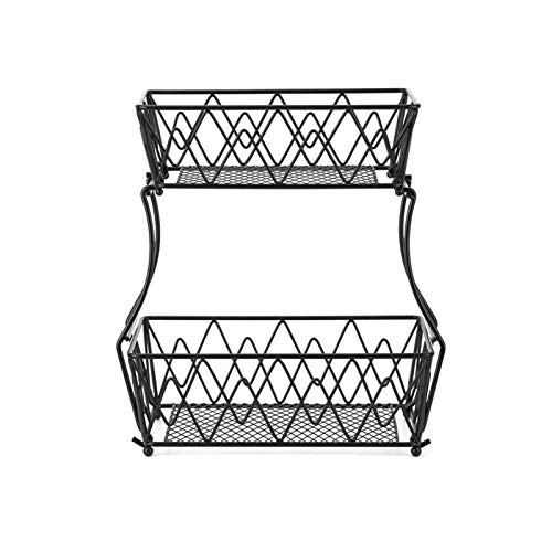 Moslate 2-Tier Fruit Basket Metal Fruit Bowl, Bread Baskets...