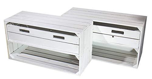 2X WEIßES Sideboard mit SCHUBLADE -NEU- HOLZKISTEN zum verstauen und dekorieren, als Beistellmöbel & zur Ablage - 74,5x40x31cm