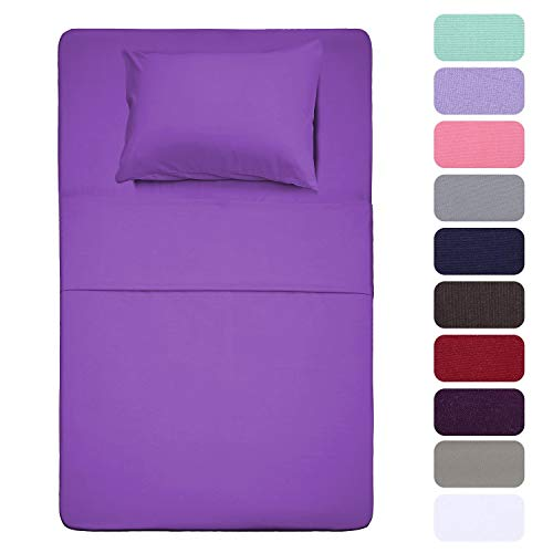 Best Season 3 Piece Bed Sheet Set (Twin,Violet) 1 Flat Sheet,1 Fitted Sheet and 1 Pillow Cases,100% Brushed Microfiber 1800 Luxury Bedding,Deep Pockets,Extra Soft & Fade Resistant