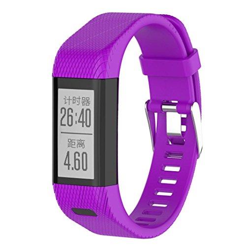 Garmin Vivosmart HR+ Armband, SHOBDW Ersatz Silikonband Armband Armband Armband für Garmin vivosmart HR + (Lila, 21MM)
