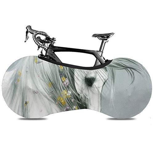 Caballo Portátil Cubierta de Bicicleta Interior Anti Polvo Alta Elástica Cubierta De La Rueda De La Bicicleta De Protección Rip Stop Neumático De Carretera Mtb Bolsa De Almacenamiento, Caballo, talla única