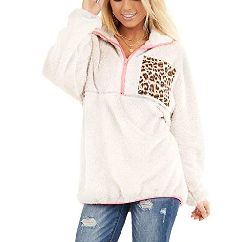 CHMORA Womens Turtleneck Zip-Up Fuzzy Fleece Sweatshirt Pullover Chunky Long Sleeve Coat Outwear(White/XL)