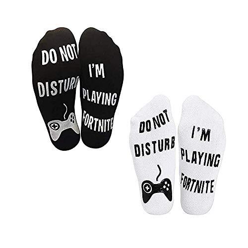 Rcool Calzini Corte Divertenti in Cotone Alla Caviglia - Do Not Disturb, I'm Gaming, Ottimo Regalo per Giocatori di Gioco e Amanti/Fan sfegatati, Calze Unisex per Equipaggio (2PCS)