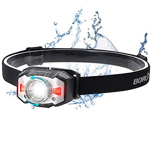 Stirnlampe LED Wiederaufladbar USB Kopflampe Stirnlampe Zoombar Wasserdicht Verstellbar Mini Stirnlampen mit Rotlicht und Intelligenter Geste Sensor für Joggen, Laufen, Campen, Angeln,Kinder