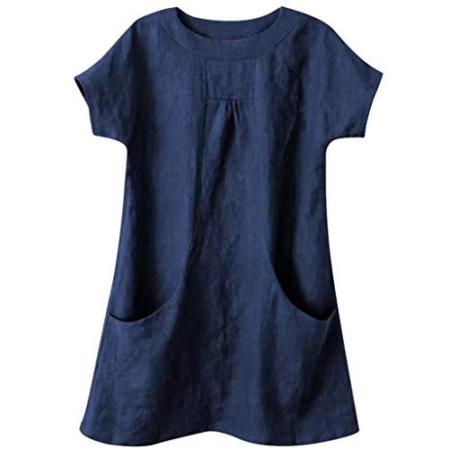 VEMOW Camisas de Mujer Casual de Las Mujeres de Cuello Redondo sólido Manga Corta de Lino Suelto Bolsillo Tops Blusa