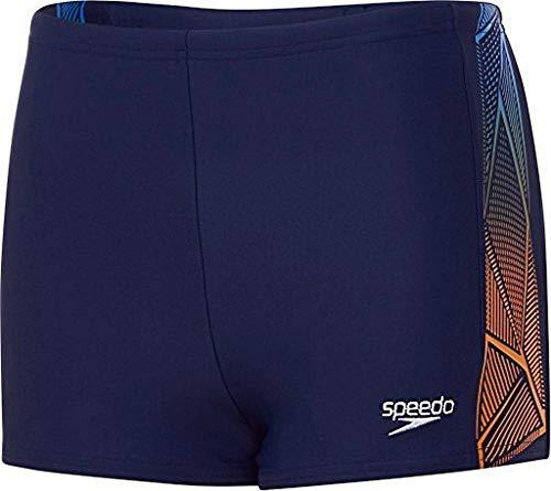 Speedo Jungen Star Kick Logo Panel Aquashorts Swimwear, Navy/Jaffa, 152