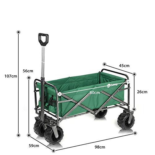 XIAOFEI Outdoor Pull Along Bollerwagen Faltbar, Outdoor Portable Camping Fishing Bucket Cart FüR Outdoor Camping BBQ Gartenarbeit Shopping Beach Sportveranstaltungen,Grün