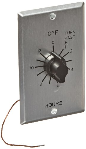 C Series Commercial Style Sringwound Auto Off in-Wall Time Switch, 12 Hours Timer Length, DPST Switch Type (C412H), Metal-Brushed Aluminum, 12AWG