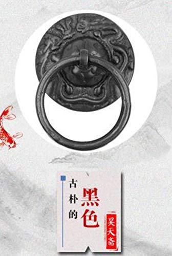 Qingsb Archaize Bronce diseño de dragón aldaba manija platillo Anillo de extracción gabinete Redondo ruyi, Negro