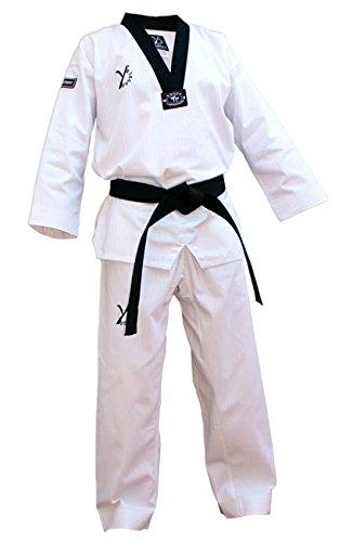 DOUBLE Y DESTINY: dobok de taekwondo, color negro., blanco, 170