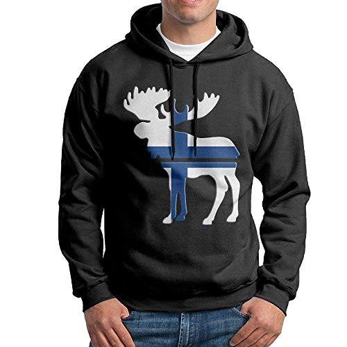 Herren Pullover Hoodies Elch Finnland Flagge Langarm Fleece Kapuzen Sweatshirt Pullover Blusen Tops,M