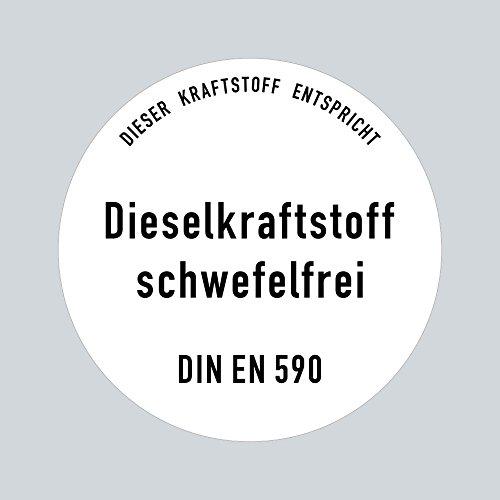 Aufkleber Sticker 10cm Diesel Dieselkraftstoff schwefelfrei DIN EN 590 Kraftstoff Tank Kanister Tankstelle Zapfsäule Hinweis (1)