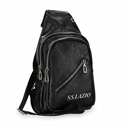 Enzo Castellano Bolso de hombre S.S. Lazio producto oficial negro de piel sintética con bolsillos