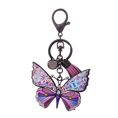 HXYKLM sleutelhanger vlinder roze zink legering met nagellak moda sleutelhanger voor dames en meisjes vintage