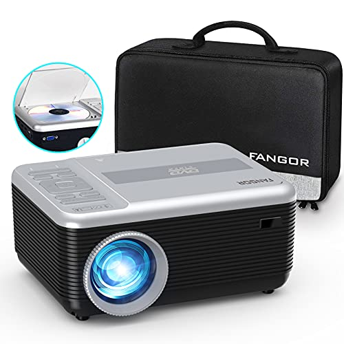"Mini Projector, FANGOR Portable Projector Built in DVD Player, 1080P Support Bluetooth Projector 720P Native, 6000L Video Movie Projector 200"" Display, Compatible with TV Stick/ laptop/PS4/ USB/SD"