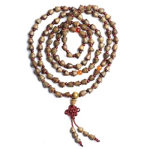JONJUMP Pulsera de 108 cuentas con forma de campana, hecha a mano, con diseño de budismo tibetano, con rosario de madera, con cuentas