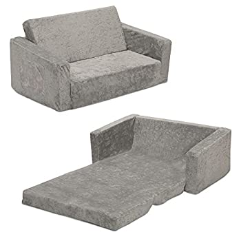 Serta Perfect Sleeper Extra Wide Convertible Sofa to Lounger - Comfy 2-in-1 Flip Open Couch/Sleeper for Kids Grey