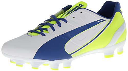 Puma evoSPEED 4.3 Firm-Ground FuÃ?ballschuh, White-snorkel Blue-Yellow, 39 EU / 6 UK / 8.5 US