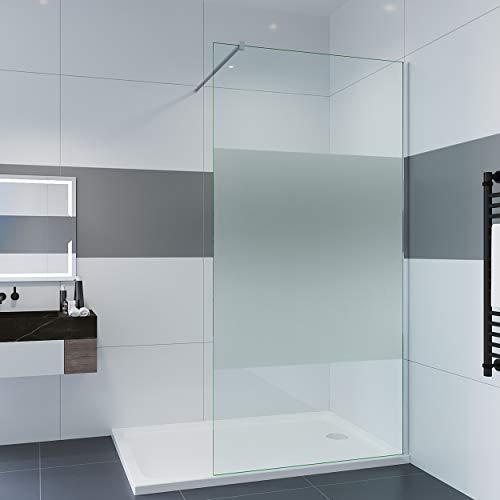 IMPTS Walk In Dusche 80-120 x 200 cm 8mm Nano ESG Glaswand mit Stabilisator Duschtrennwand Glas Duschabtrennung (120x200cm Teilsatiniertes)