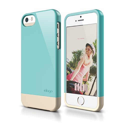 iPhone SE case, elago [Glide-Limited][Coral Blue/Champagne Gold] - [Mix and Match][Premium Armor][True Fit] - for iPhone SE/5/5S