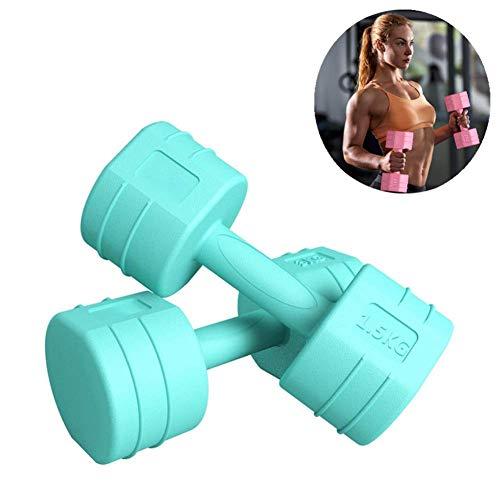 Korte halters voor dames, professionele gymnastiekuitrusting met rubberen halters voor thuis, fitness, training, gewichtsverlies, bodybuilding. 5 kg  Celeste Y Blanco