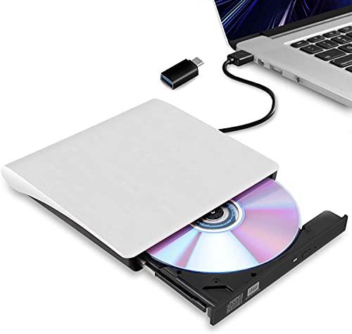 外付け DVDドライブ USB 3.0 type-c 外付CD・DVDドライブ CD/DVDプレーヤー 外付け光学ドライブ ブルーレイ PC外付けドライブ ポータブルドライブ CD/DVDドライブ ノートパソコン CD/DVD読取・書込 DVD±RW CD-RW USB3.0/2.0 Window/Mac OS両対応 高速 静音 超スリム 薄型 コンパクト (ホワイト)