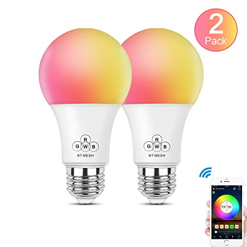 Bluetooth Mesh Smart LED Lampe 40W RGBW, Dimmbar 16 Mio Farben Beleuchtung und DIY Leuchtmittel, Musik & Mic Innenbeleuchtung E27 Bulb Kompatibel mit Alexa & Google Home und Siri(2 Pack)