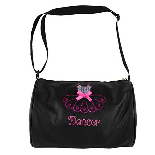TiaoBug Bolsa de Ballet Niña Bolsa de Danza Deportes Infantil Tote Bolsa Lentejuelas Brillantes Bandolera De Cuero Niña Bolso Hombro Para Viaje Gimnasio Casual Negro Un Tamaño