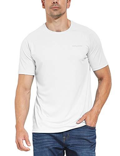 BALEAF Men's UPF 50+ Outdoor Running Workout Short-Sleeve T-Shirt White Size L