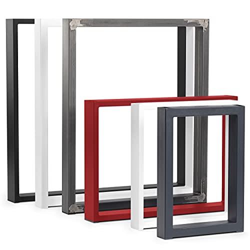 HOLZBRINK Patas de Mesa perfiles de Acero 80x20 mm, Forma de Marco 50x72 cm, Negro Intenso, 1 Pieza, HLT-01-C-II-9005
