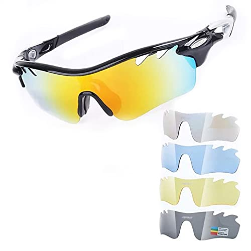 JIAYANLH Gafas de Sol Polarizadas Protección UV400 con 5 Lentes Intercambiables y Monturas TR-90,para Running MTB Bicicleta (B)