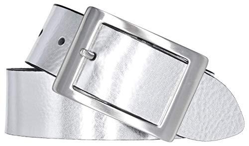 Bernd Götz Damen Leder Gürtel 40 mm silber Nappaleder kürzbar Damengürtel (105 cm)