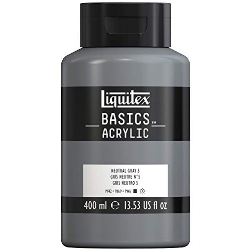 Liquitex 4640599 Basics - Acrylfarbe, monopigmentierte Künstlerpigmente, lichtecht, mittlere Viskosität, Achivqualität, seidenglänzender Finish, 400ml Topf, Neutralgrau Nr. 5