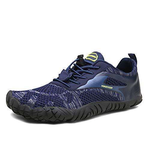 Oberm Womens Mens Trail Running Shoes Minimalist Barefoot 5 Five Fingers Wide Width Toe Box Gym Workout Fitness Low Zero Drop Male Walking Jogging Blue