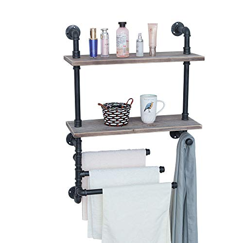 Industrial Towel Rack with 3 Towel Bar,24in Rustic Bathroom Shelves Wall Mounted,2 Tiered Farmhouse...