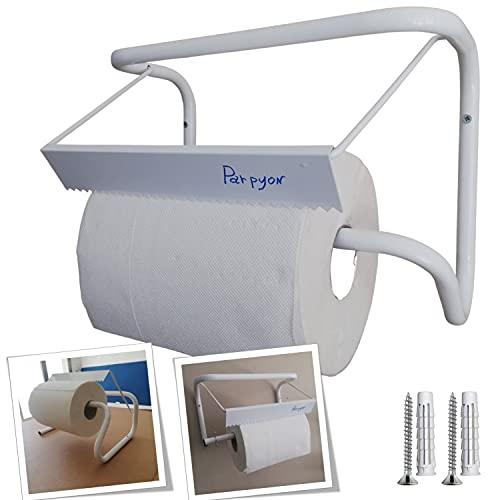 Parpyon® Nuovo Portarotolo industriale a muro porta asciugamani bagno per rotoloni asciugatutto Ideale in cucina, garage, palestra, per bobina carta asciugamani monouso (MOD.1)