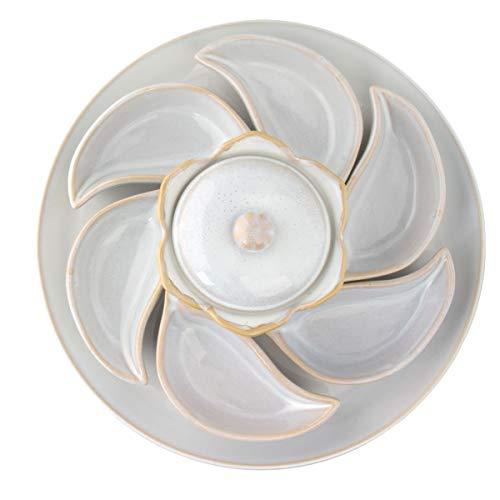 All'asta (8 Piece) Ceramic Serving Set Cute Leaf Bowl Sauce Dip Plates Dinner Party Everyday Snacks