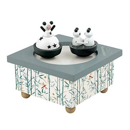 TROUSSELIER - Fille & Panda - Boîte à Musique Dancing - Idéal Cadeau de Naissance - 2 Figurines Amovibles - Fonctionnement Simple - Musique La Belle au Bois Dormant - Colori Vert