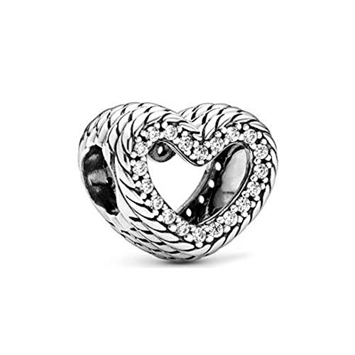 925 Plata Pandora Otoño Patrón De Cadena De Serpiente Corazón Abierto Charm Se Adapta A Pulseras Originales Fabricación De Collares Moda Diy Regalo De Mujer Joyería De Lujo Para Mujer