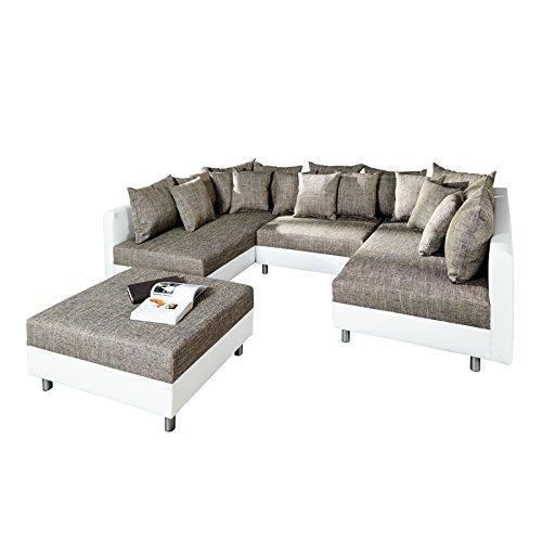 Invicta Interior Design Sofa Loft XXL in U-Form weiß grau Strukturstoff Kunstleder Wohnlandschaft mit Schlaffunktion inklusive Hocker und Kissenset Eckcouch