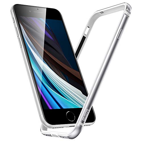 ESR Bumper Hülle kompatibel mit iPhone SE 2020, iPhone 8/7 - Metallrahmen Schutz mit weichem inneren Bumper [Keine Signalstörungen] [Erhöhter Kantenschutz] für iPhone SE(2020) - Silber