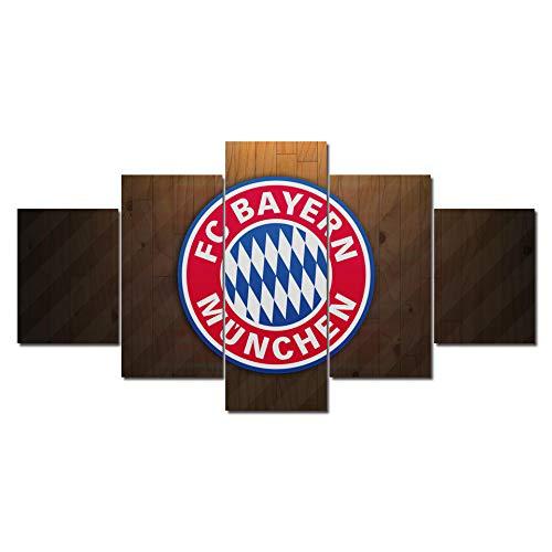 6Lv5Panel Bavaria football club Team Logo canvas prints Home Decoration Poster 5 Panel/piece canvas prints wall art With frame-200 * 100cm Xmas Gift