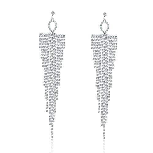 Pendientes largos con flecos de diamantes de imitación – Pendientes colgantes de cadena de metal con diamantes de imitación grandes para mujeres y niñas