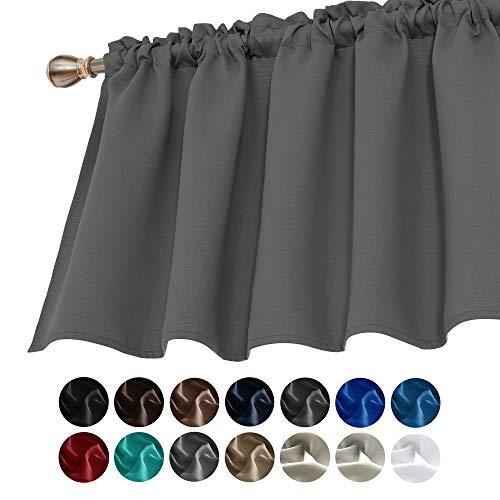 Deconovo Light Grey Valances for Window Kitchen Valance Textured Embossed Blackout Valance Curtain 52x18 Inch 1 PCS
